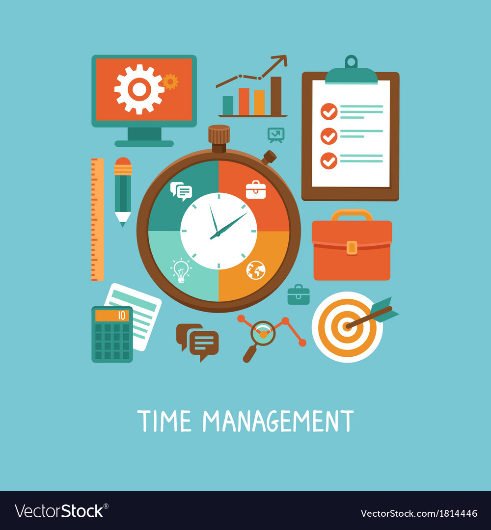 Concept in flat style - time management vector | Price: 1 Credit (USD $1)