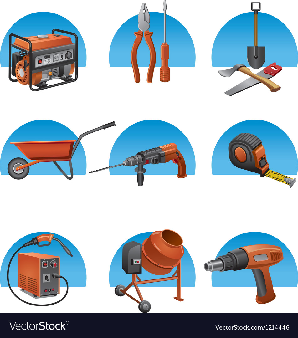 Construction tools icon set vector | Price: 1 Credit (USD $1)