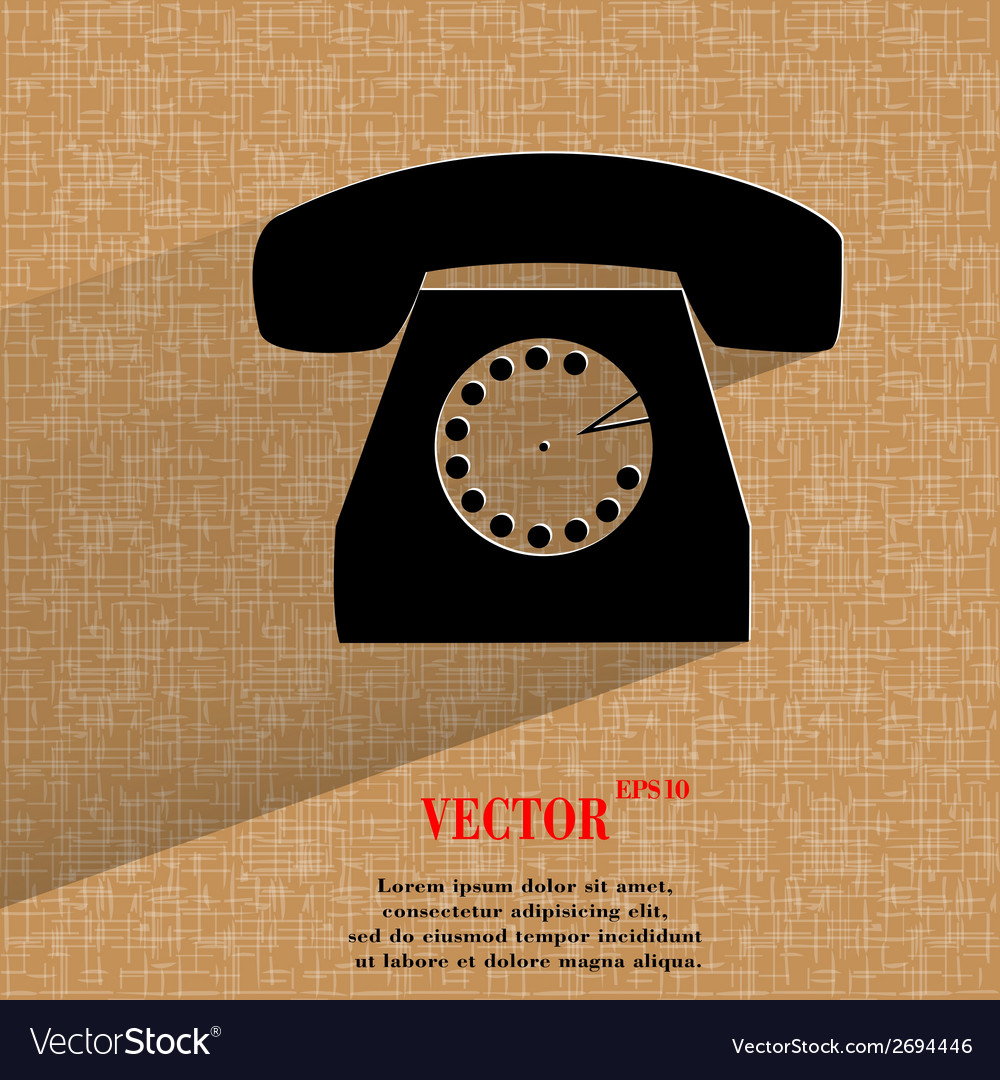 Retro telephone flat modern web button on a flat vector   Price: 1 Credit (USD $1)
