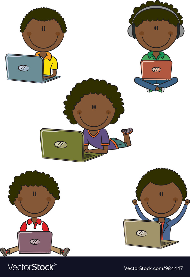 African-american boys with laptops vector | Price: 1 Credit (USD $1)