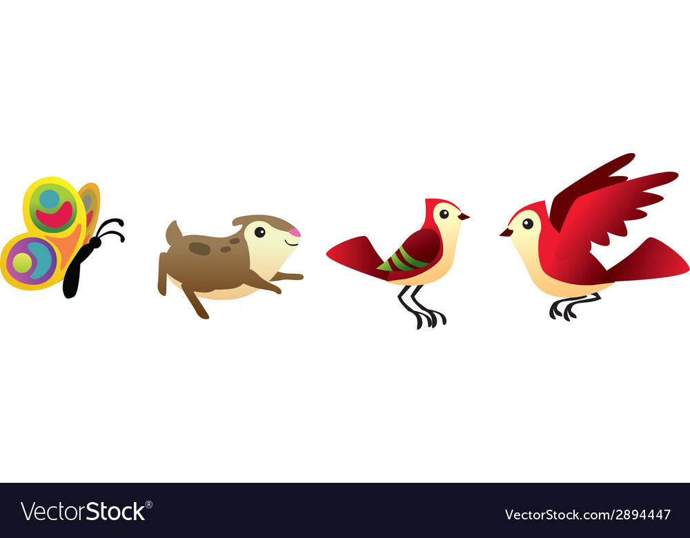 Bird hamster and butterfly isolated set vector | Price: 1 Credit (USD $1)