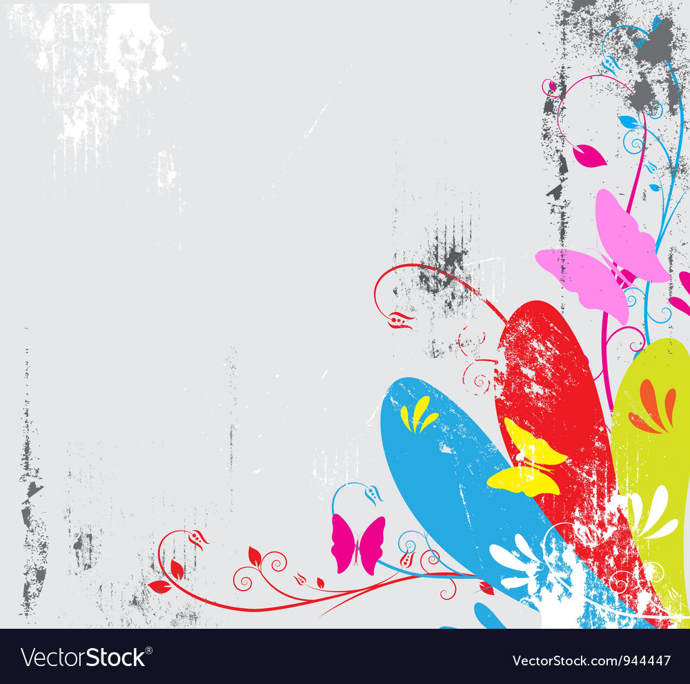 Butterfly and floral with grunge background vector | Price: 1 Credit (USD $1)