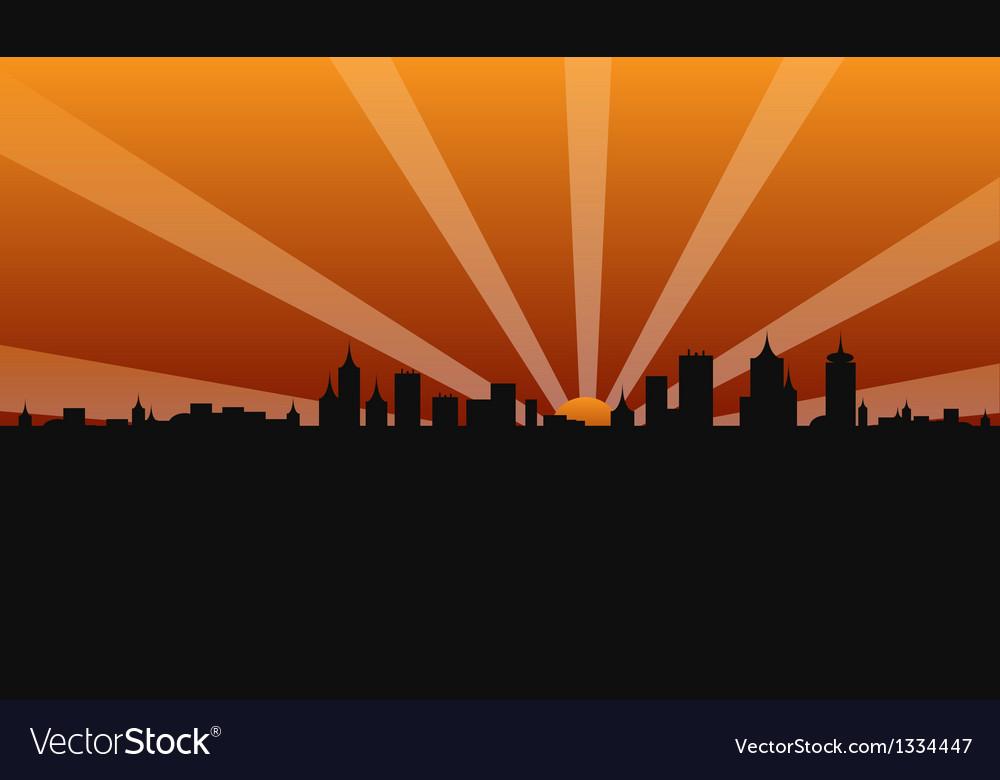 City building sunshine vector | Price: 1 Credit (USD $1)