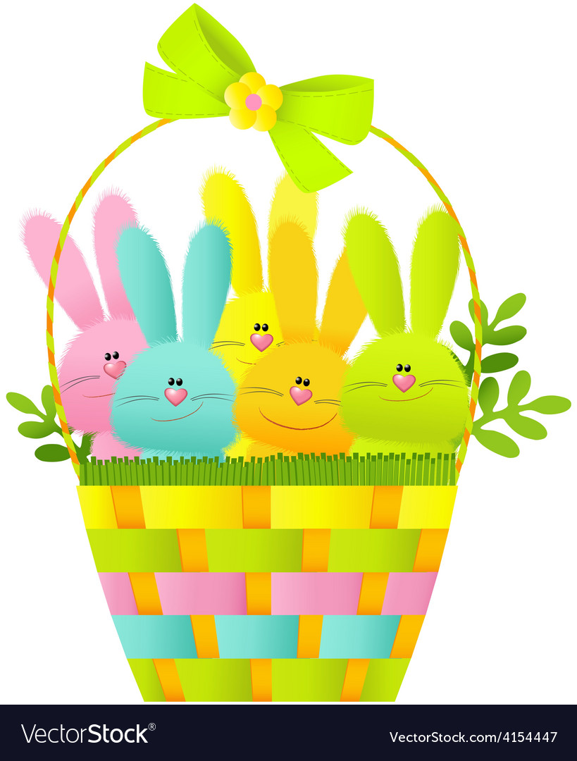 Easter basket with bunnies vector | Price: 1 Credit (USD $1)