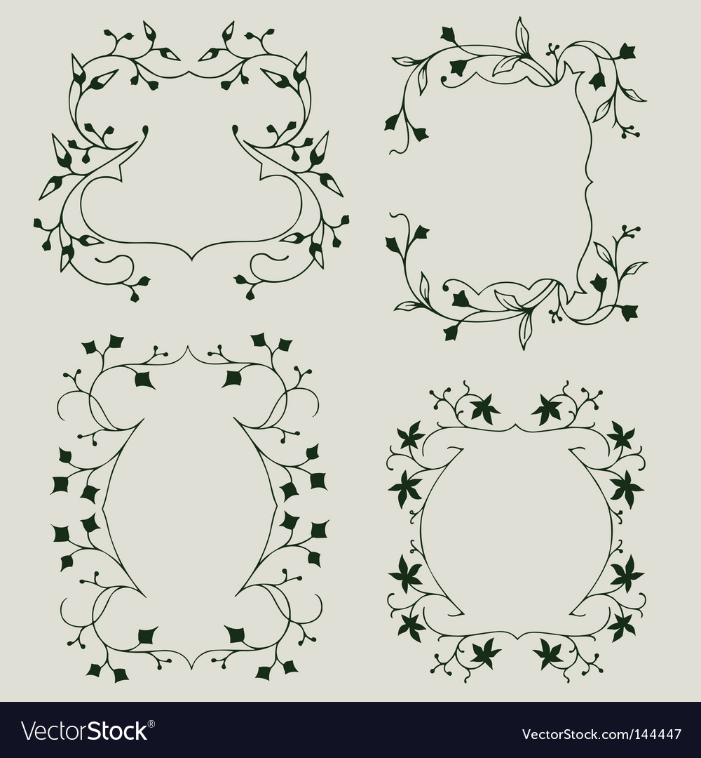 Floral border elements vector | Price: 1 Credit (USD $1)