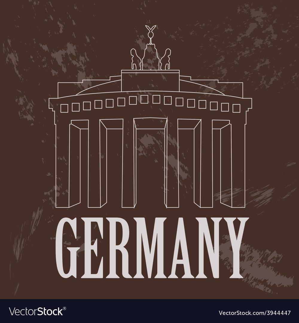 Germany landmarks retro styled image vector | Price: 1 Credit (USD $1)
