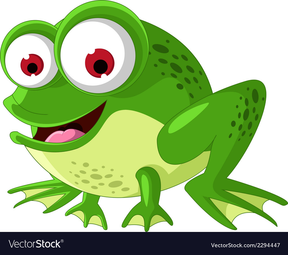 Happy green frog cartoon vector | Price: 1 Credit (USD $1)