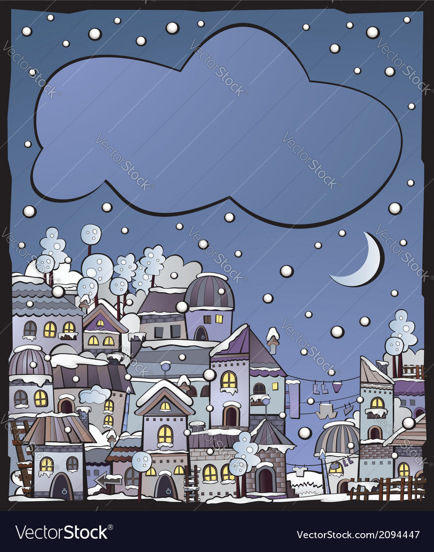 Postcard with cartoon winter construction town vector | Price: 1 Credit (USD $1)