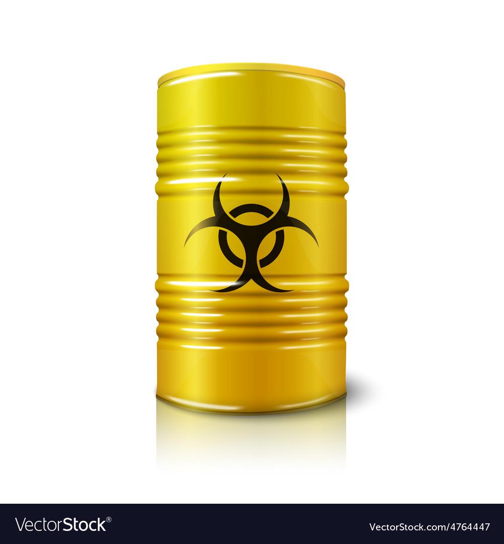 Realistic bright yellow big barrel with biohazard vector   Price: 3 Credit (USD $3)