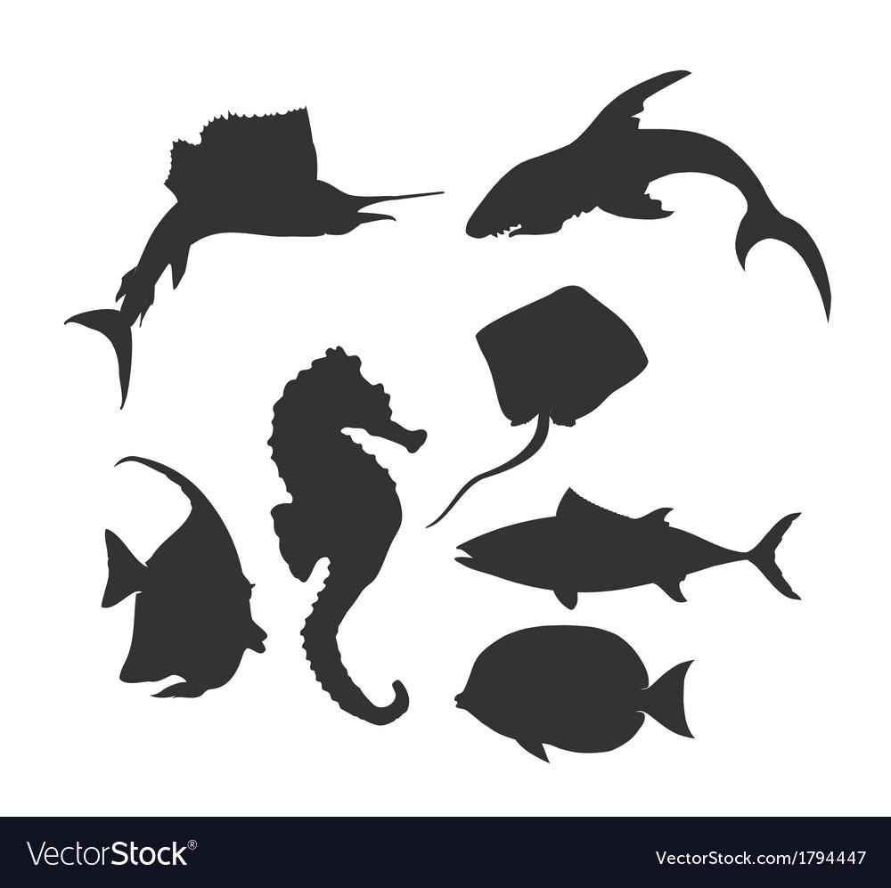 Sea life silhouette vector | Price: 1 Credit (USD $1)