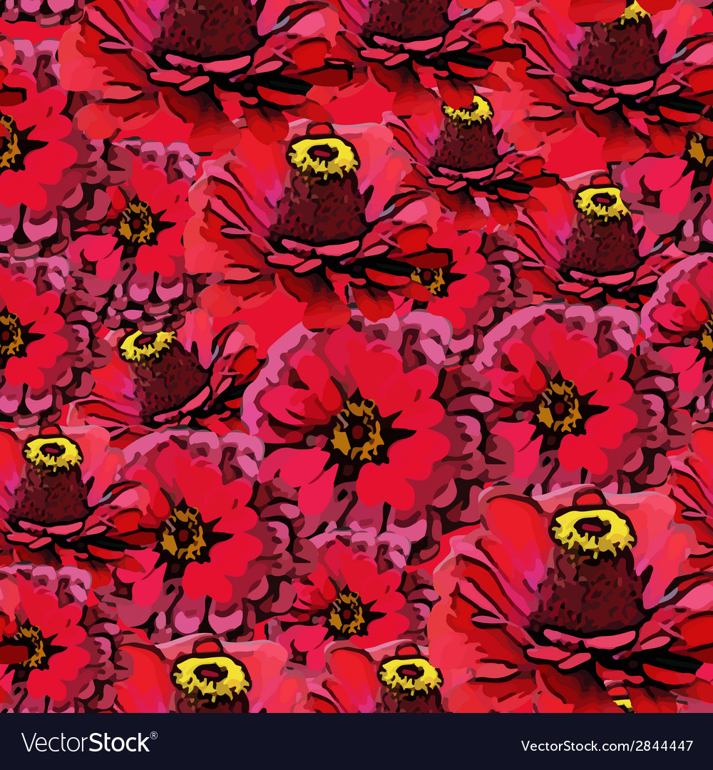 Seamless colorful pattern with red flowers vector | Price: 1 Credit (USD $1)
