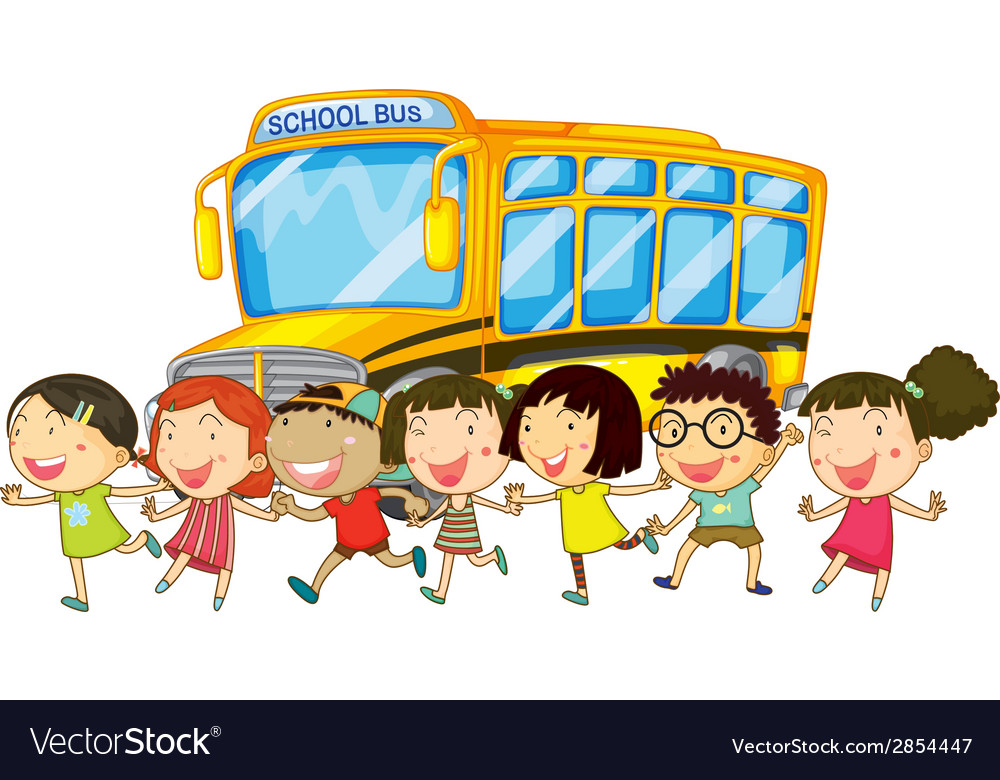 Students and school bus vector | Price: 1 Credit (USD $1)