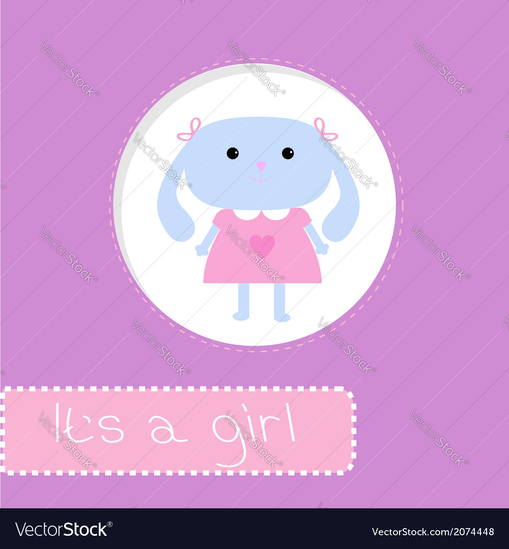 Baby shower card with bunny its a girl vector | Price: 1 Credit (USD $1)