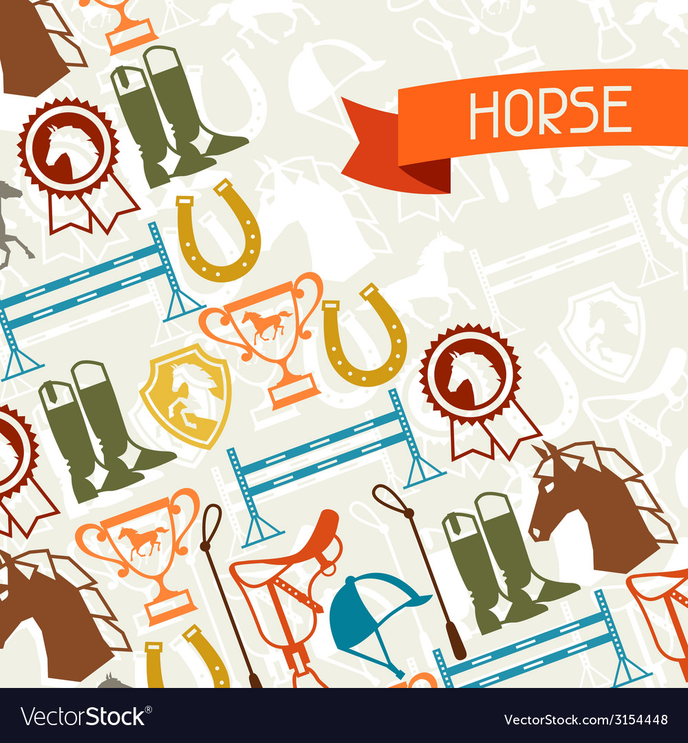 Background with horse equipment in flat style vector   Price: 1 Credit (USD $1)