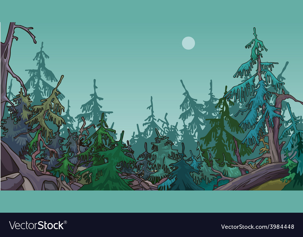 Cartoon dense coniferous forest vector | Price: 3 Credit (USD $3)