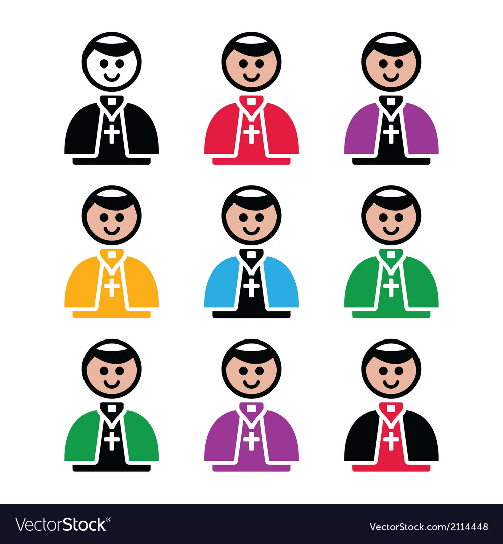 Catholic church pope icon set vector | Price: 1 Credit (USD $1)