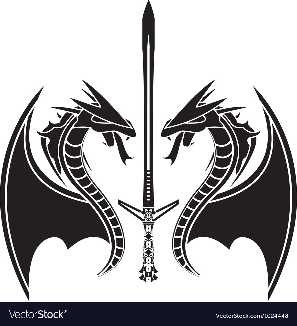 Flying dragons and sword vector | Price: 1 Credit (USD $1)