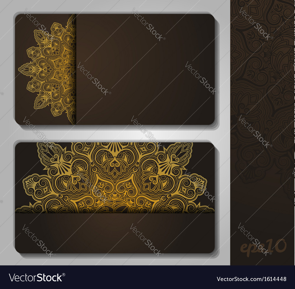Indian geometric ornament business card template vector | Price: 1 Credit (USD $1)
