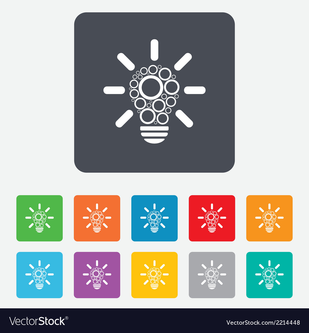 Light lamp sign icon bulb with circles symbol vector   Price: 1 Credit (USD $1)