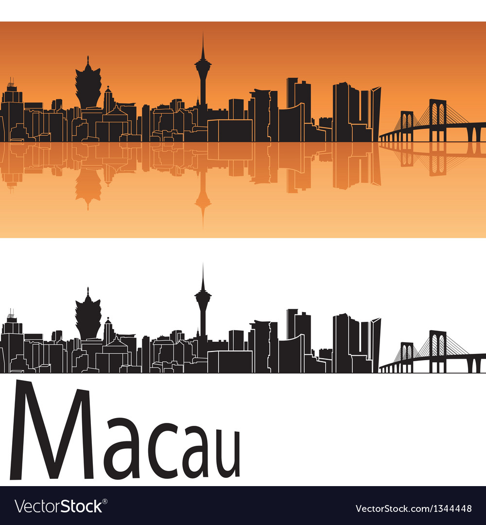 Macau skyline in orange background vector | Price: 1 Credit (USD $1)
