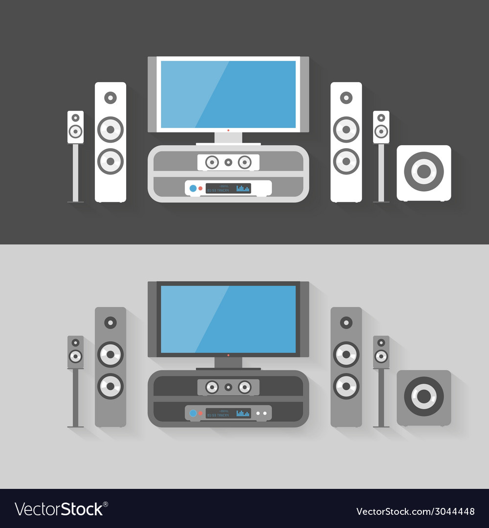 Modern home cinema entertainment with two color vector | Price: 1 Credit (USD $1)