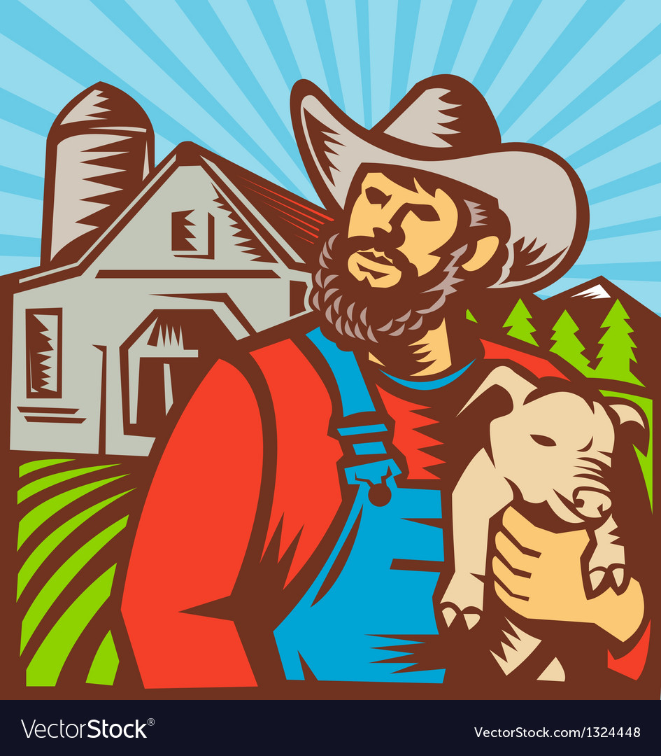 Pig farmer holding piglet barn retro vector | Price: 1 Credit (USD $1)