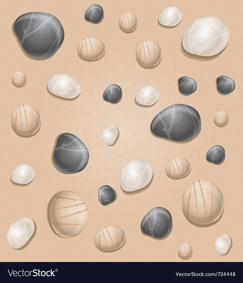 Sand seamless pattern with stones - vector | Price: 1 Credit (USD $1)