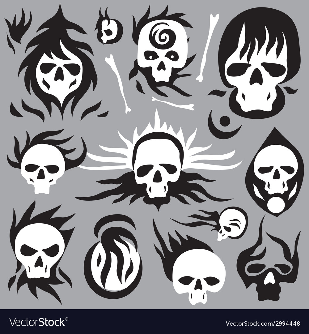 Skulls cartoons vector | Price: 1 Credit (USD $1)