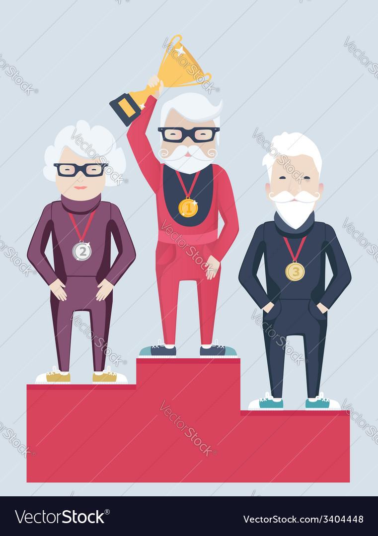 Three elderly people on a winners podium vector   Price: 1 Credit (USD $1)