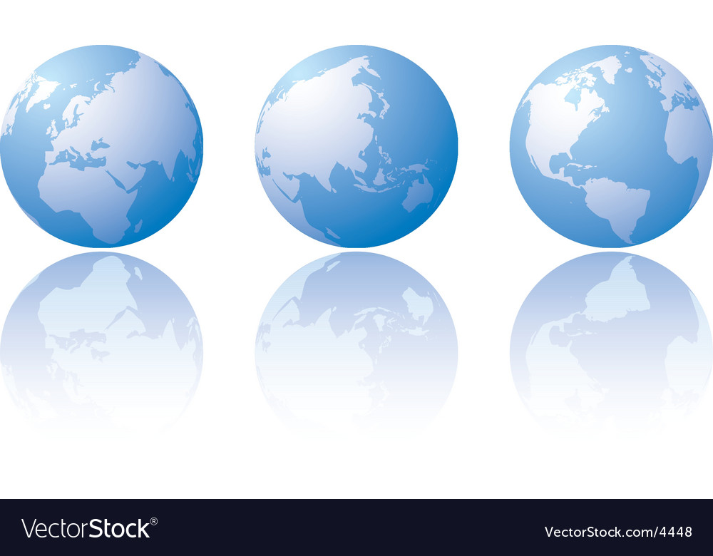 Three globe world views vector | Price: 1 Credit (USD $1)