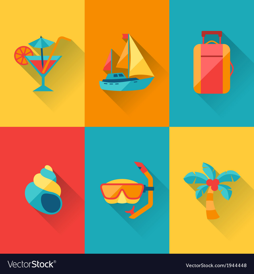 Travel and tourism icon set in flat design style vector | Price: 1 Credit (USD $1)