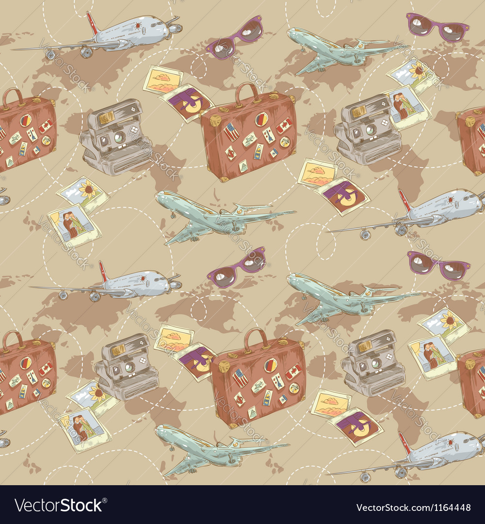 Travel seamless repeating pattern vector | Price: 3 Credit (USD $3)