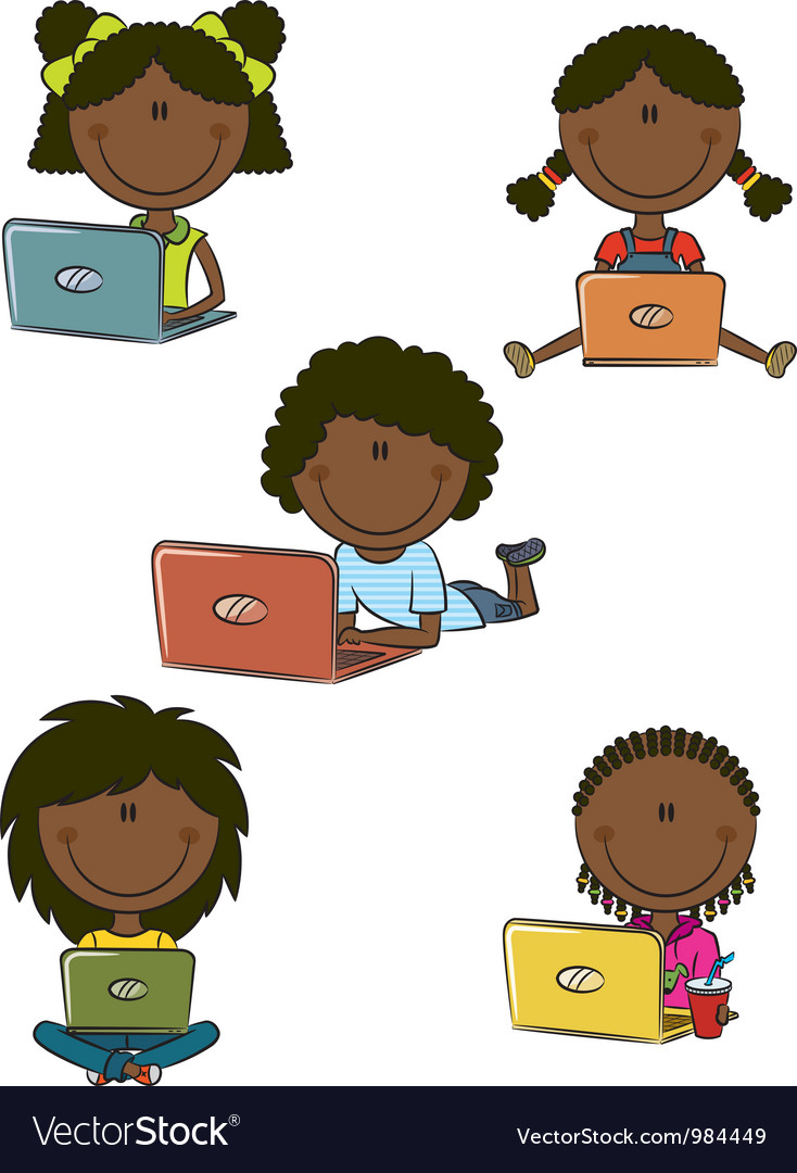 African-american cheerful girls with laptops vector | Price: 1 Credit (USD $1)