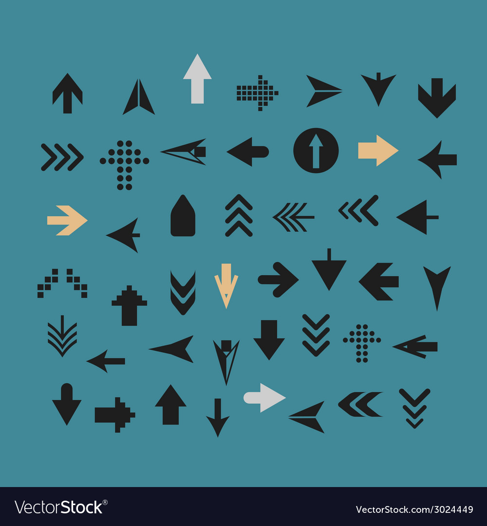 Arrow sign silhouettes collection vector | Price: 1 Credit (USD $1)