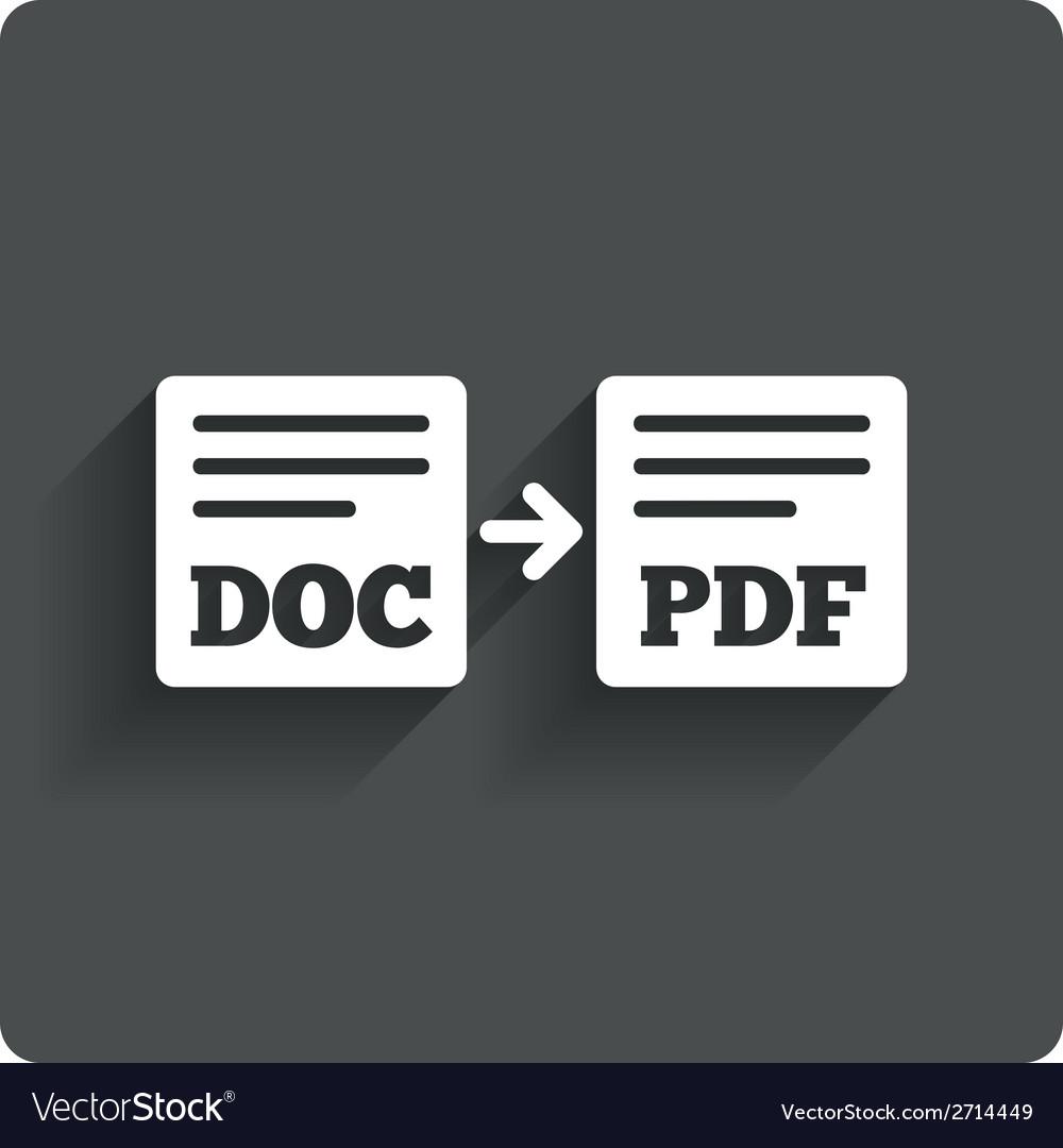 Export doc to pdf icon file document symbol vector | Price: 1 Credit (USD $1)