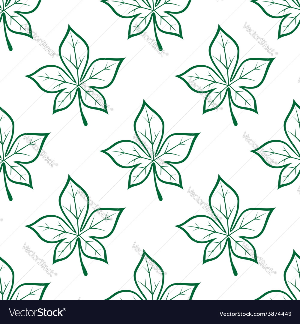 Green stylized chestnut leaves seamless background vector | Price: 1 Credit (USD $1)