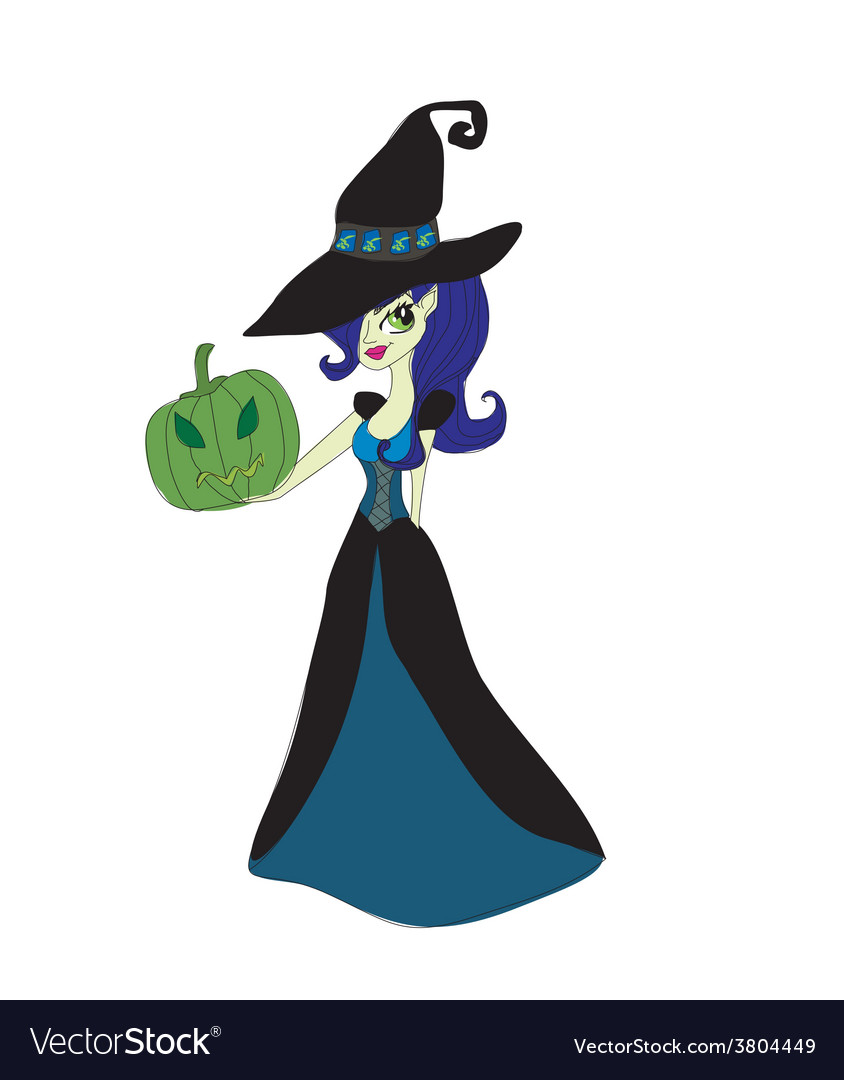 Halloween witch standing with pumpkins vector | Price: 1 Credit (USD $1)