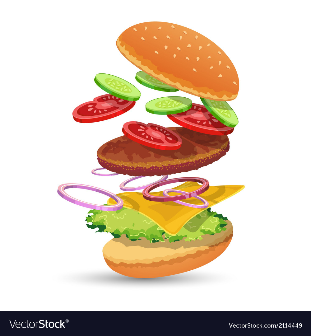 Hamburger ingredients emblem vector | Price: 1 Credit (USD $1)