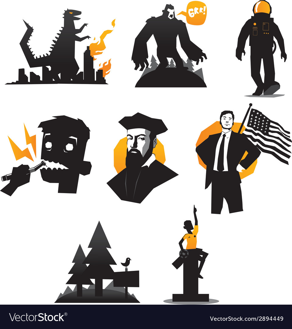 Icons set of monsters and humans isolated vector | Price: 1 Credit (USD $1)
