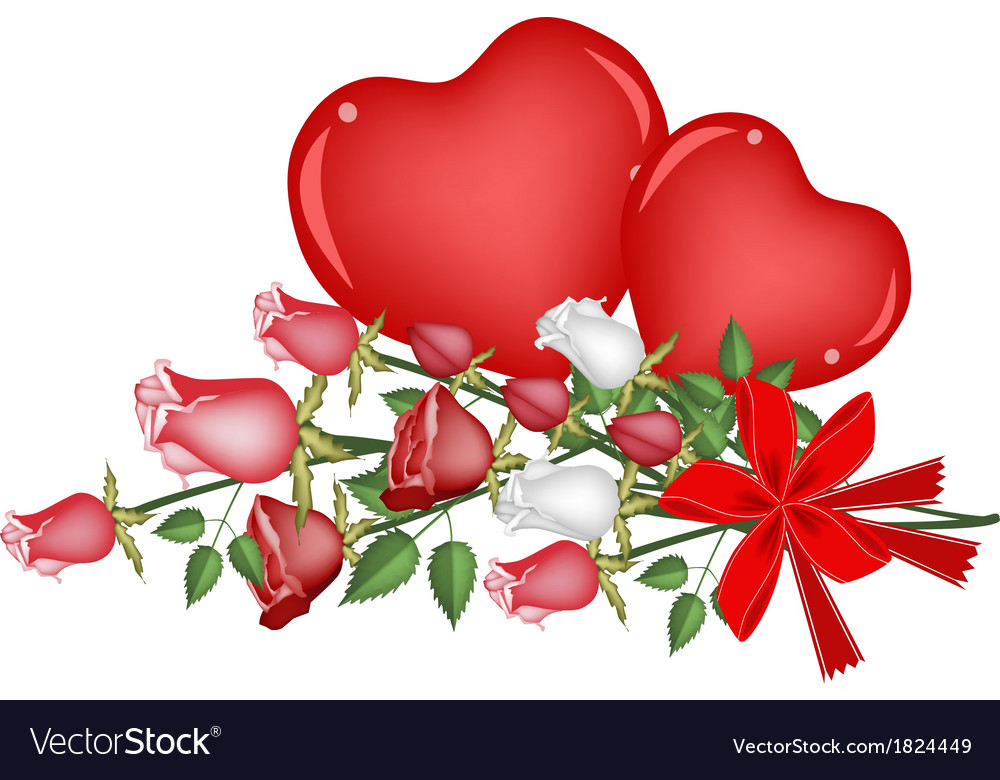 Lovely rose with red bow and two hearts vector | Price: 1 Credit (USD $1)