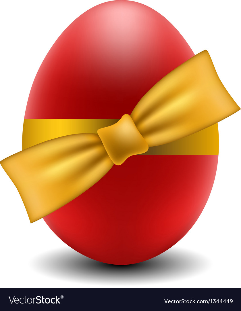 Red easter egg with yellow bow vector | Price: 1 Credit (USD $1)