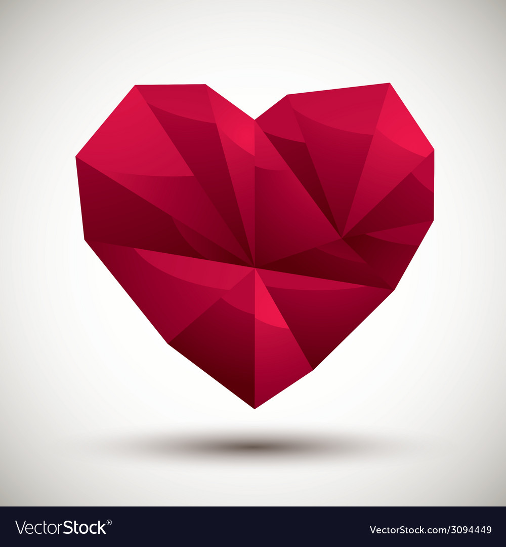 Red heart geometric icon made in 3d modern style vector | Price: 1 Credit (USD $1)