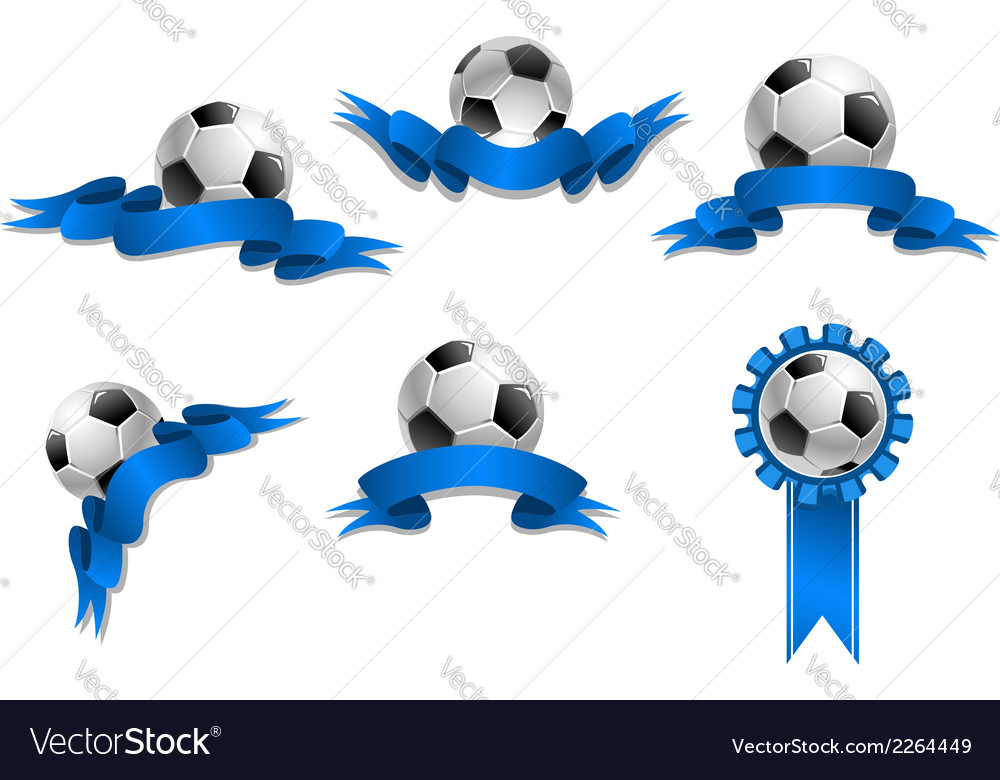 Set of soccer balls with blue ribbons vector | Price: 1 Credit (USD $1)