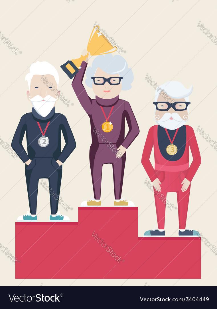 Three senior people on a winners podium vector | Price: 1 Credit (USD $1)