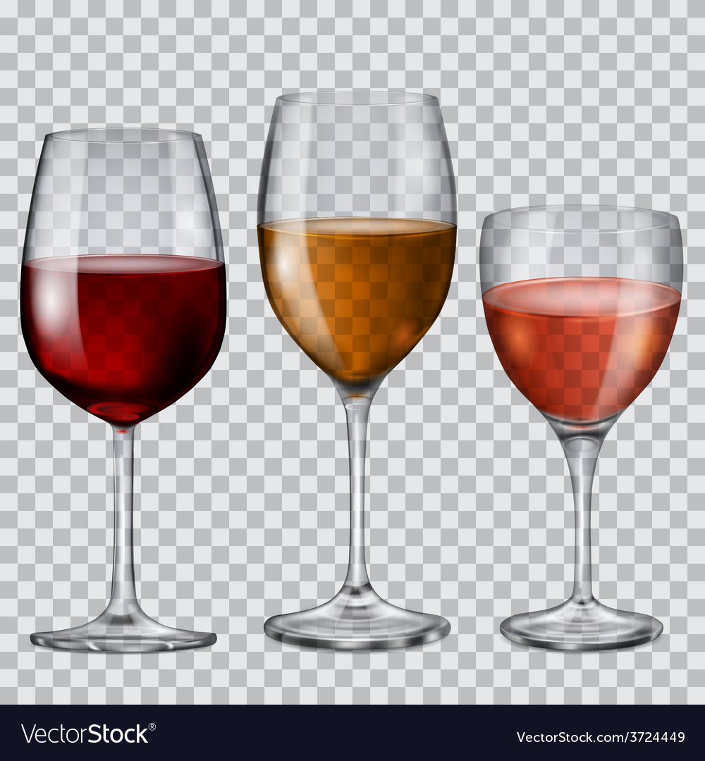 Transparent glass goblets with wine vector | Price: 1 Credit (USD $1)