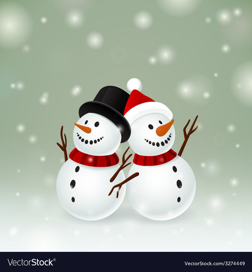 Two smiley snowman vector | Price: 1 Credit (USD $1)