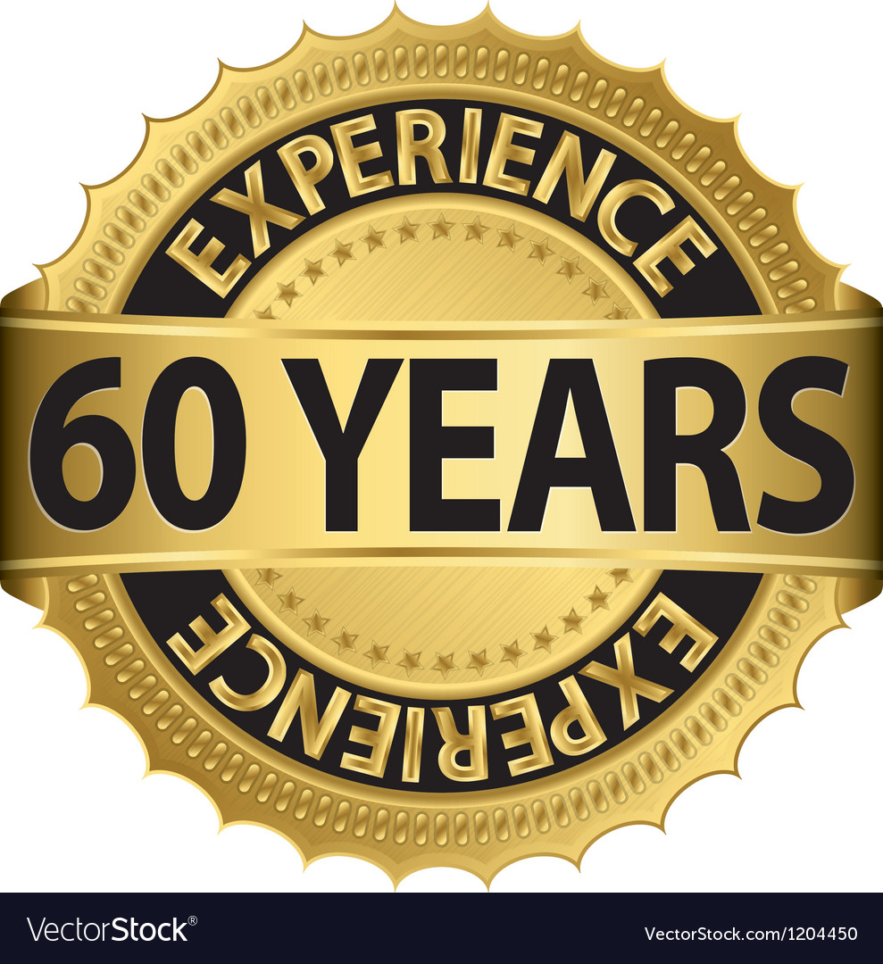60 years experience golden label with ribbon vector | Price: 1 Credit (USD $1)