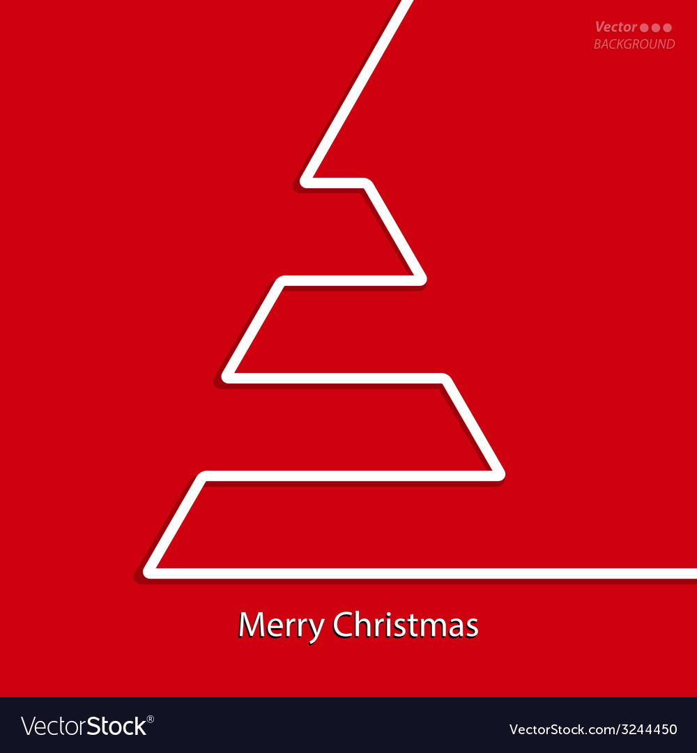 Christmas card design with white line tree vector | Price: 1 Credit (USD $1)