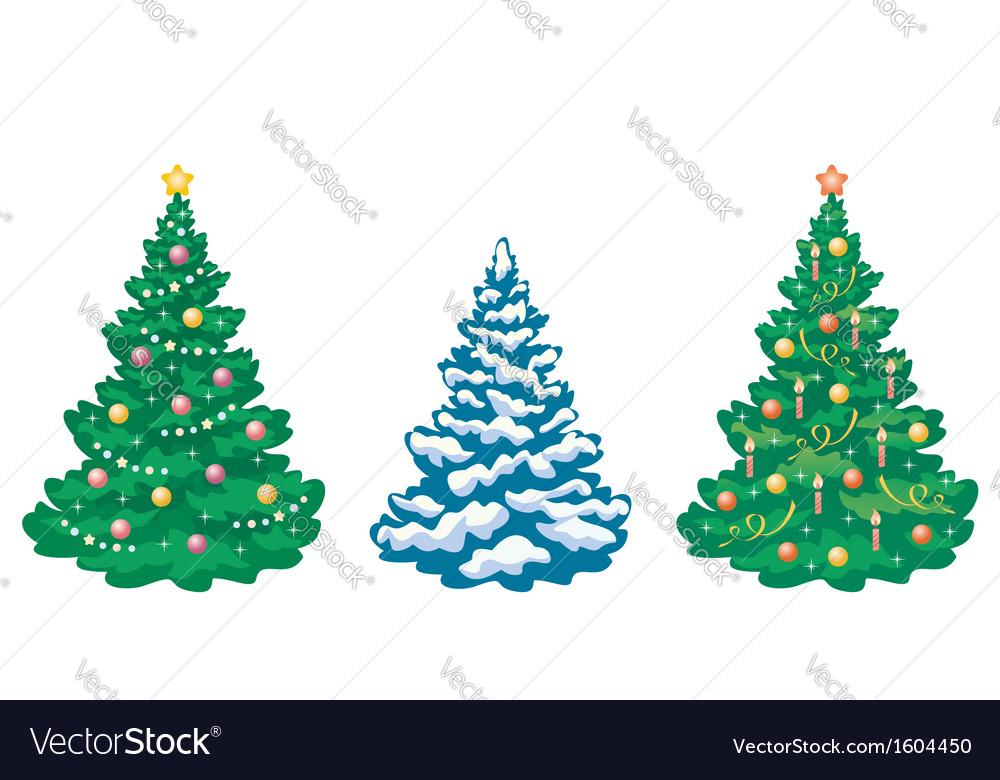 Christmas trees set vector | Price: 1 Credit (USD $1)