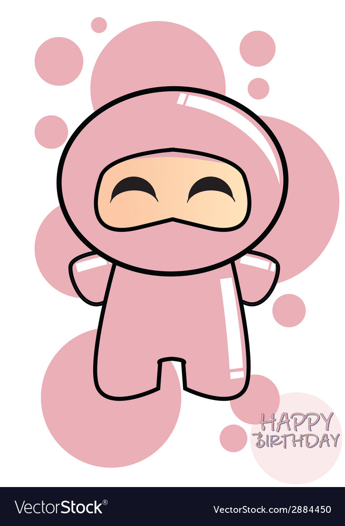 Happy birthday card with cute cartoon ninja vector   Price: 1 Credit (USD $1)